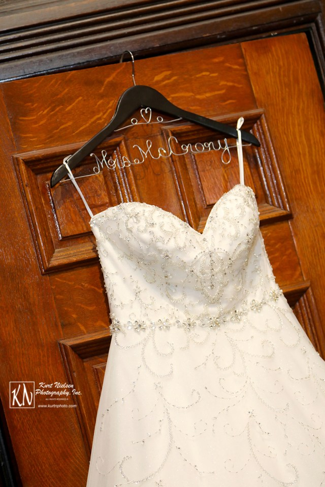beaded bodice of wedding gown