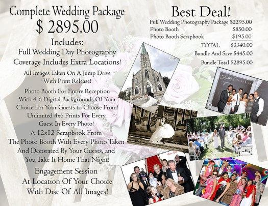 pricing for Toledo wedding photographer and photo booth