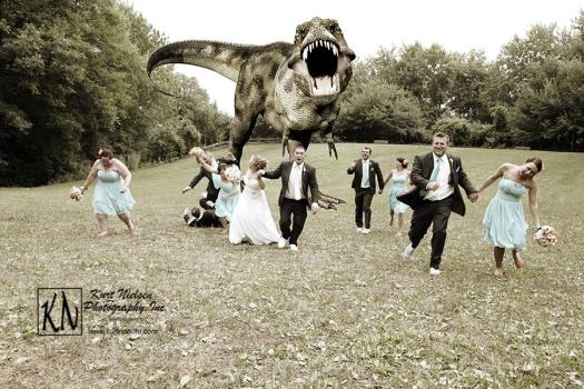 Fun Wedding Photo with a Dinosaur