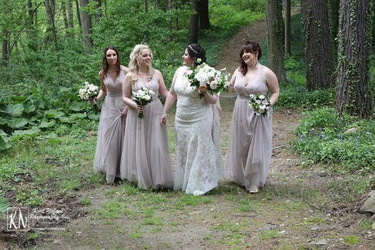 nude bobbinet a line bridesmaids dresses by wtoo by watters from Abbott's Bridal and Formalwear