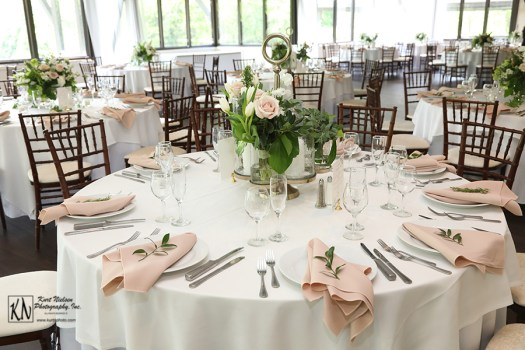 garden wedding with white linens and blush napkins