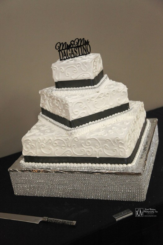 3 tier black and white square wedding cake