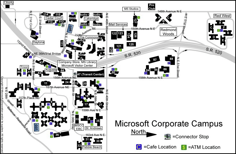 INFO: Map of Microsoft's Corporate Campus