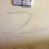 Z on the wall from when someone tried to clean it.