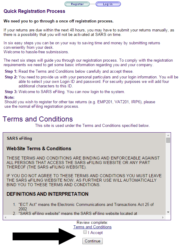 First step of SARS eFiling: Accepting the Terms & Conditions