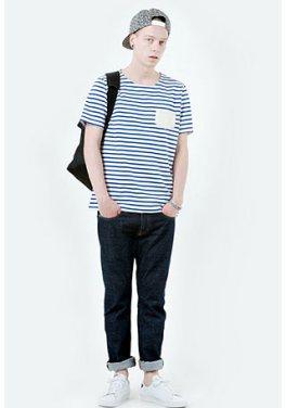 「ボーダーTシャツ メンズ コーデ」の画像検索結果