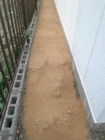 固まる土の施工、最初の段階 トリプルエス 大阪
