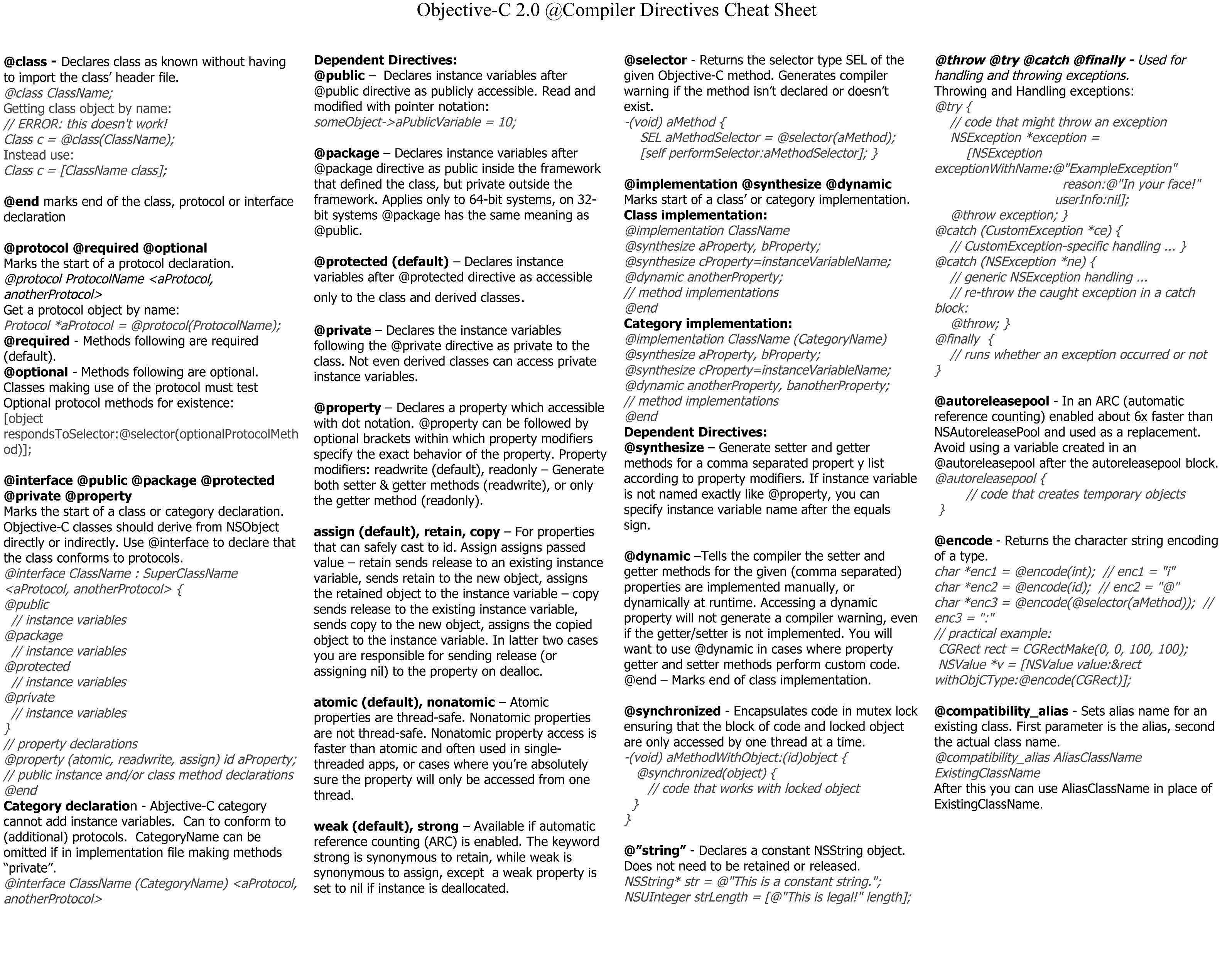 Objective C 2 0 Compiler Directives Cheat Sheet
