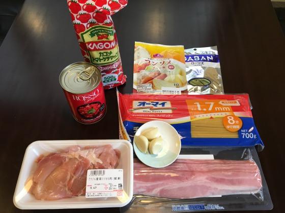 鶏もも肉のトマトソース煮の材料