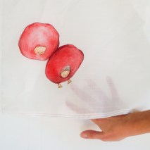 Dropping little balls handpainted on linen with inktense pencils