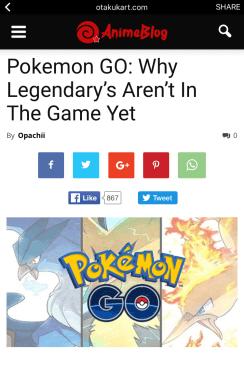 """Credit: """"Pokemon GO: Why Legendary's Aren't In The Game Yet"""" By Opachii, AnimeBlog [Retrieved from otakukart(dot)com]"""