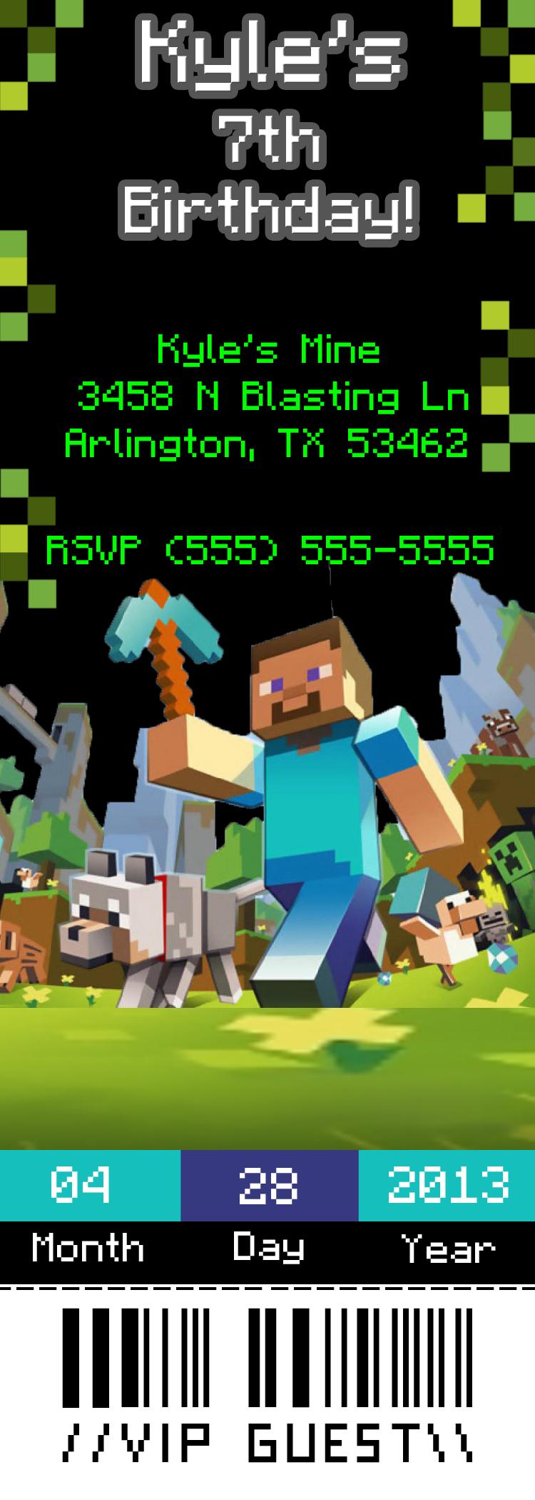 Minecraft Ticket Style Birthday Invitation Kustom Kreations