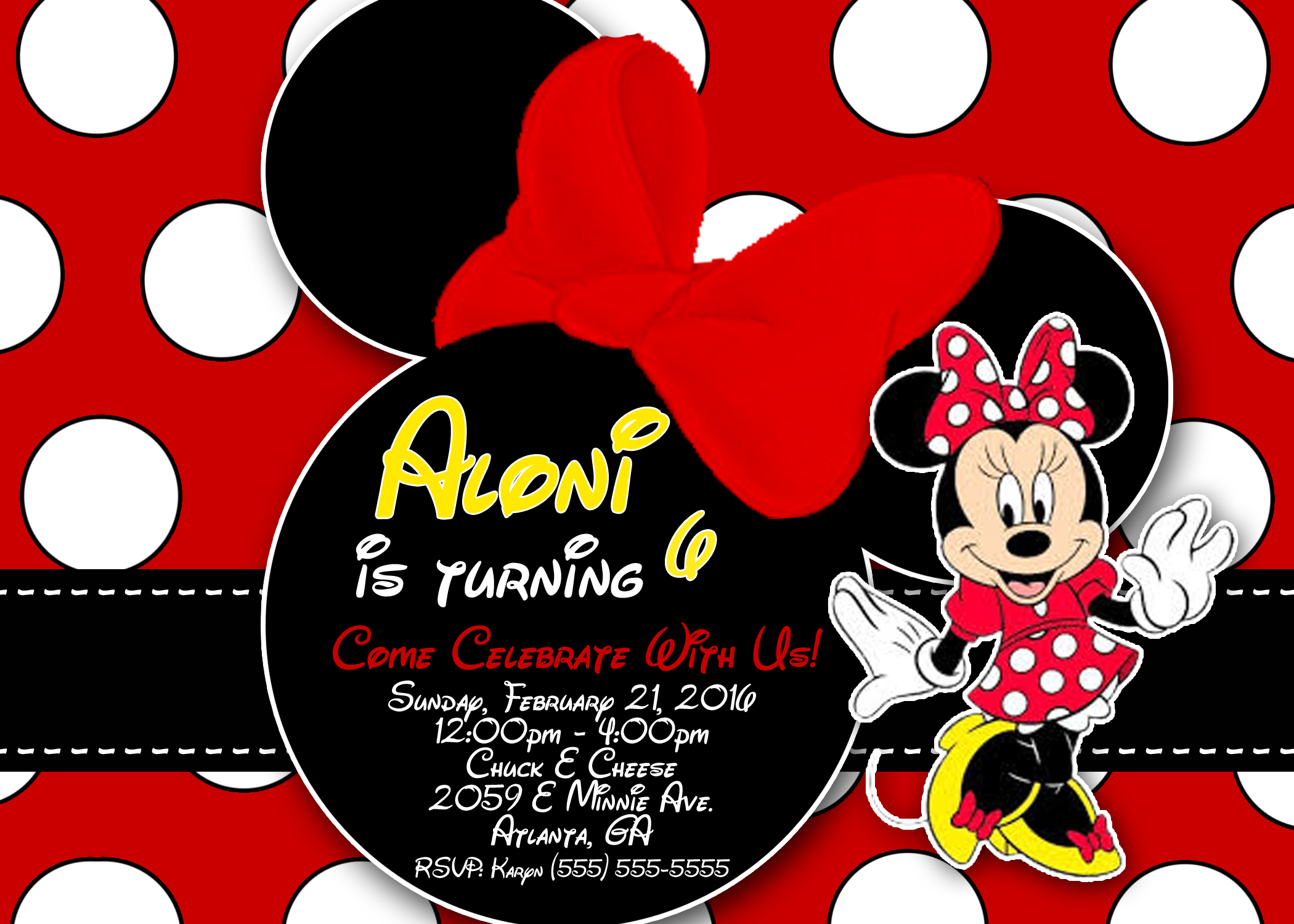 Minnie Mouse Birthday Invitation Kustom Kreations