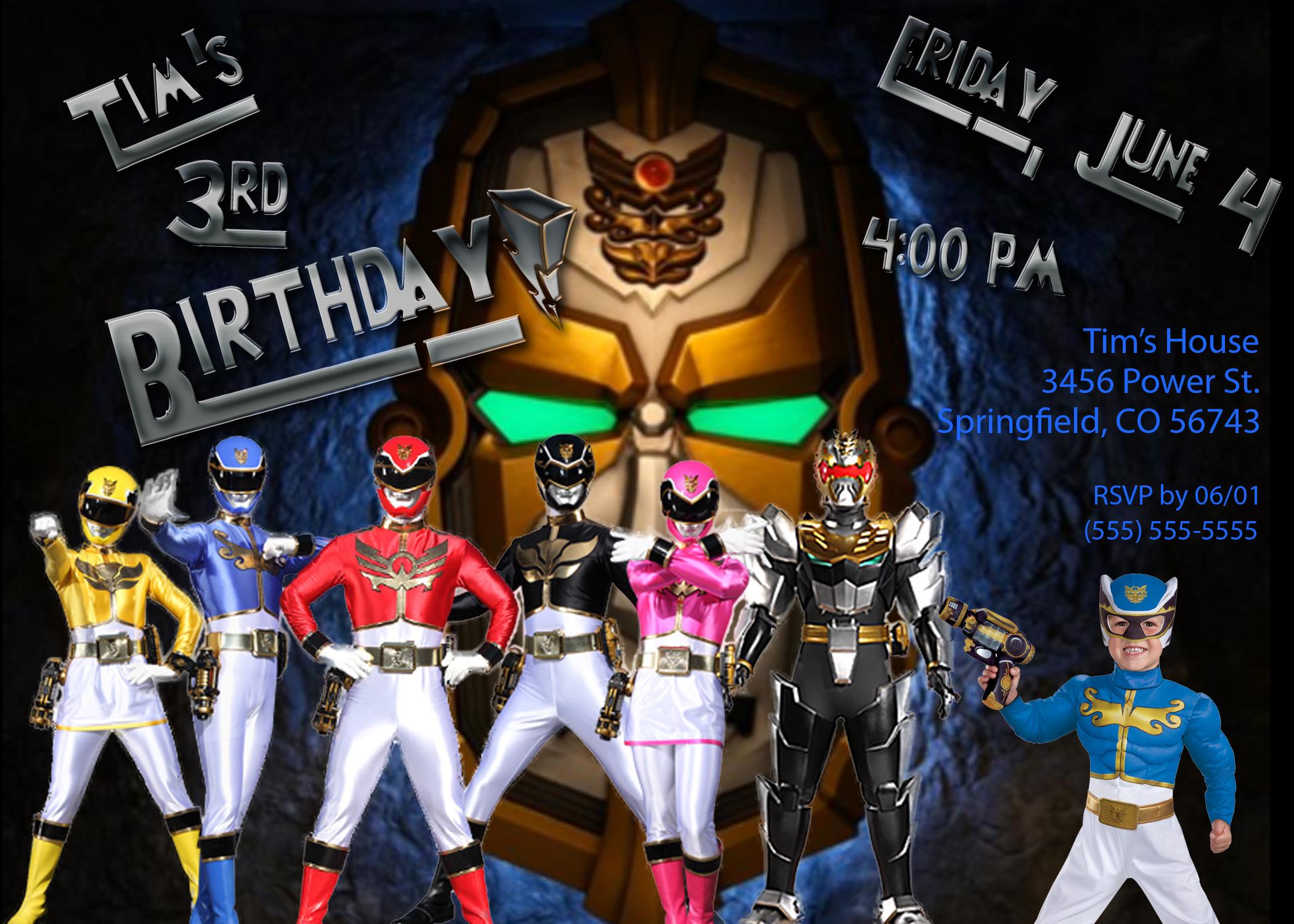 birthday invitation card power rangers