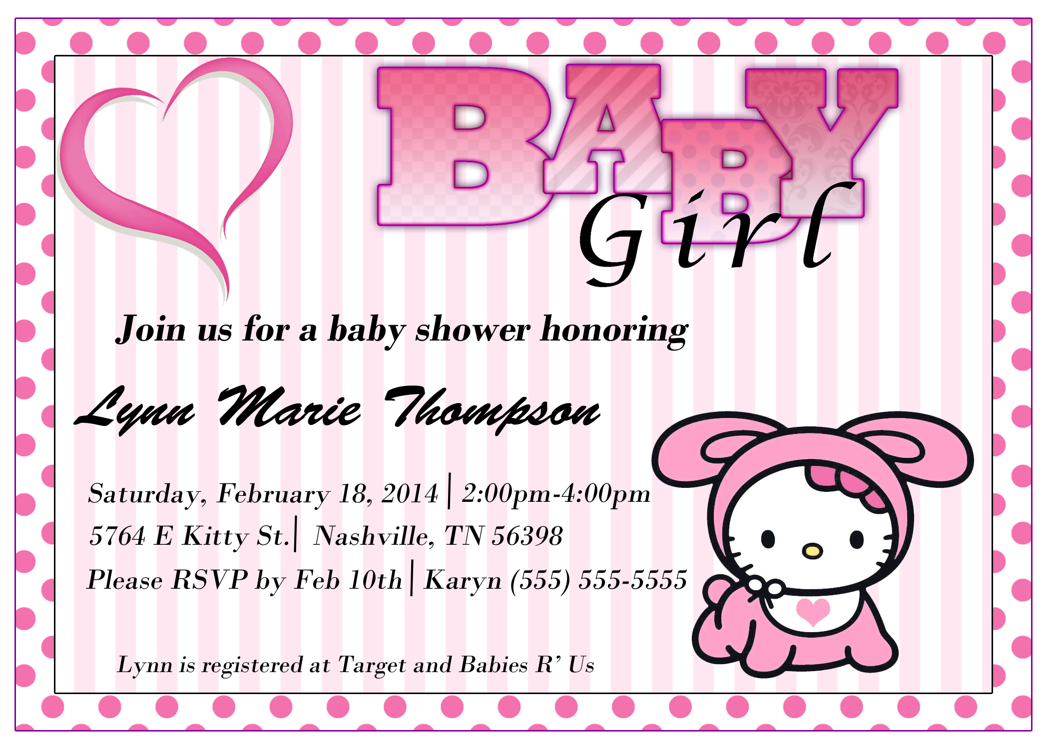 Hello Kitty Baby Shower Invitation Kustom Kreations