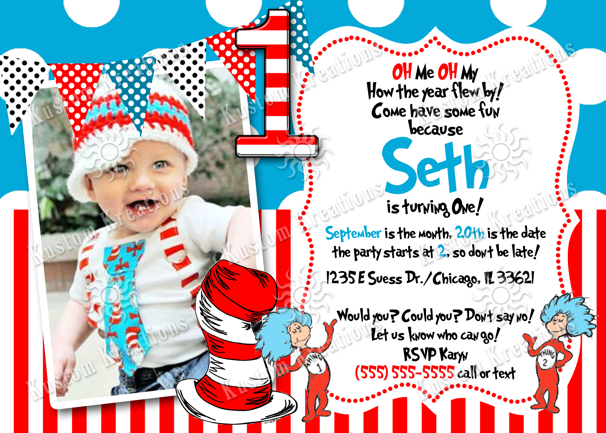 Dr Seuss Birthday Invitations