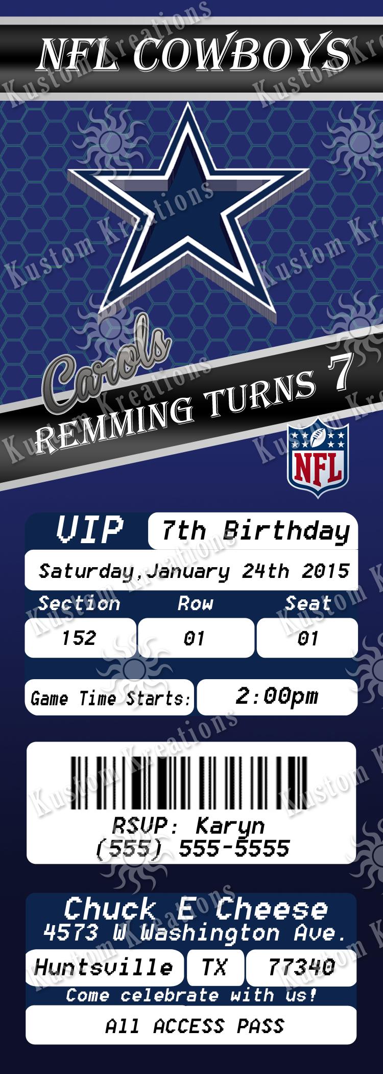 NFL Dallas Cowboys Birthday Invitation Kustom Kreations