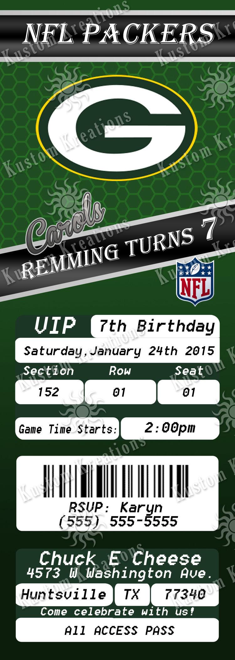 NFL Green Bay Packers Ticket Birthday Invitation Kustom