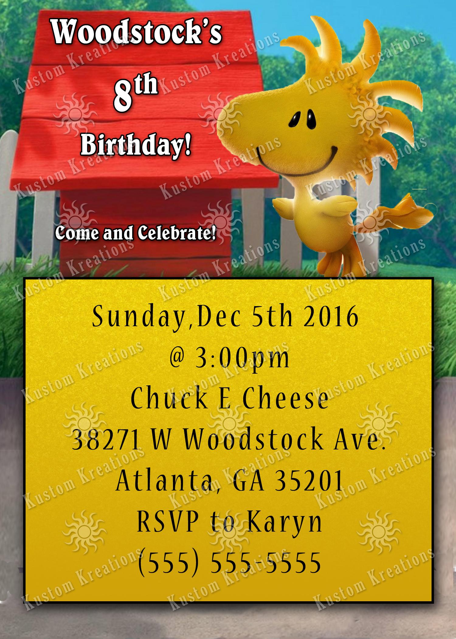Peanuts Snoopy Birthday Invitations Kustom Kreations