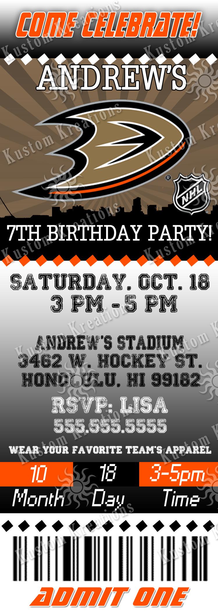 nhl hockey birthday invitations
