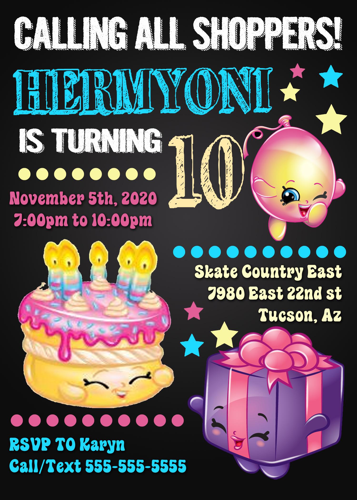 shopkins birthday invitation kustom