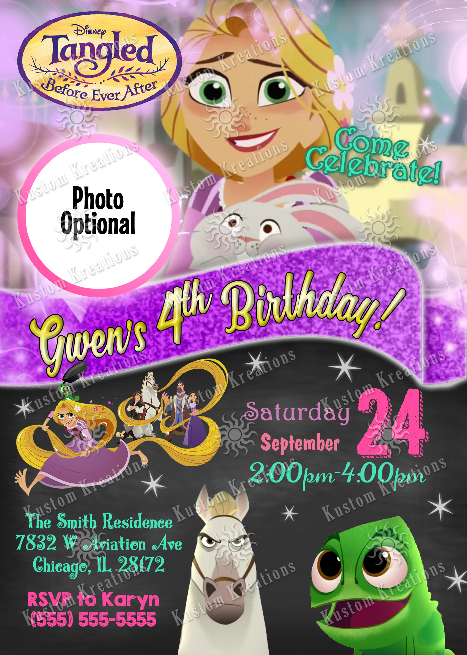 Tangled Before Ever After Birthday Invitations Kustom