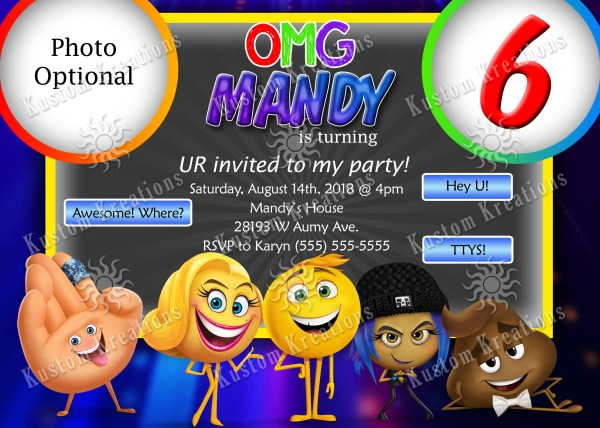 Emoji Birthday Invitations Kustom Kreations