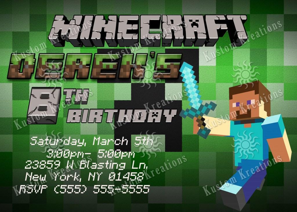 minecraft birthday invitations kustom