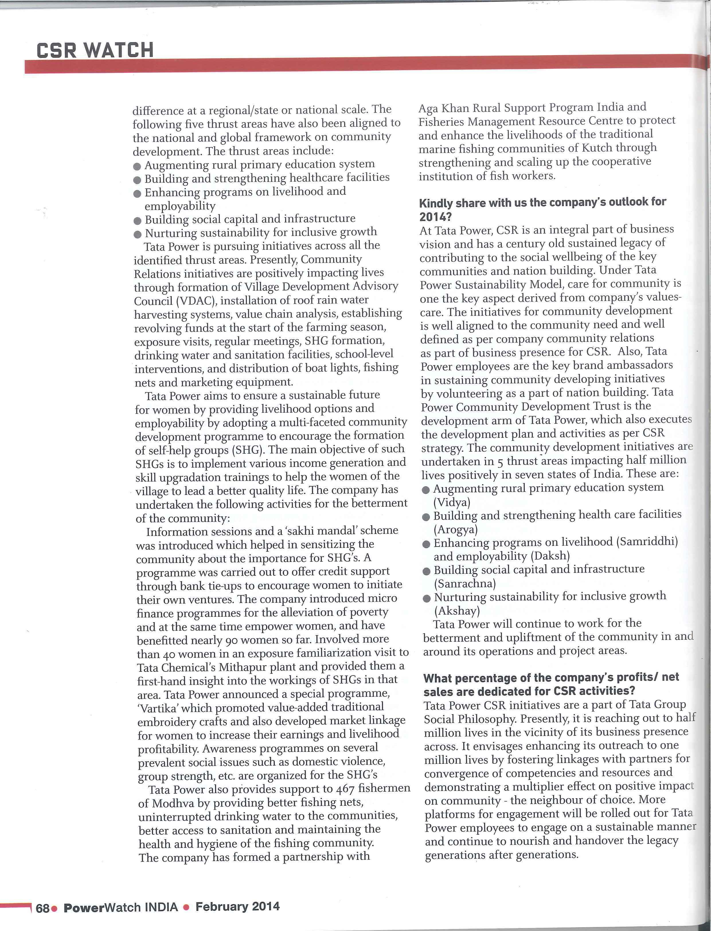 Power Watch Magazine on Mundra UMPP Community Initiatives