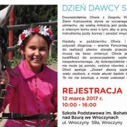 Oliwia potrzebuje dawcy szpiku. Rejestracja 12 marca