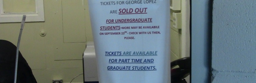 A sign telling full-time students tickets were no longer available to them.
