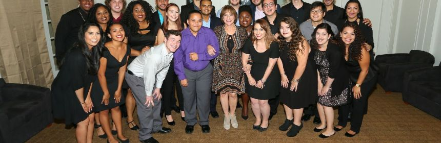 Patti LuPone, center in a brown dress, stands with Kean University students. Credit: Patti Banks