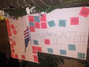 Signs filled with post-its were used for students to write down thoughts and fears for the future on Nov. 10. Credit: Adrianna Ruffo