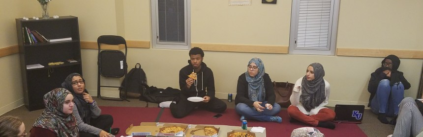The Muslim Student Association holds a pizza party in their meeting place in the CAS building. Credit: Joshua Rosario
