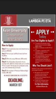Photo Courtesy of Gail Fredricks Lambda Pi Eta application flyer.