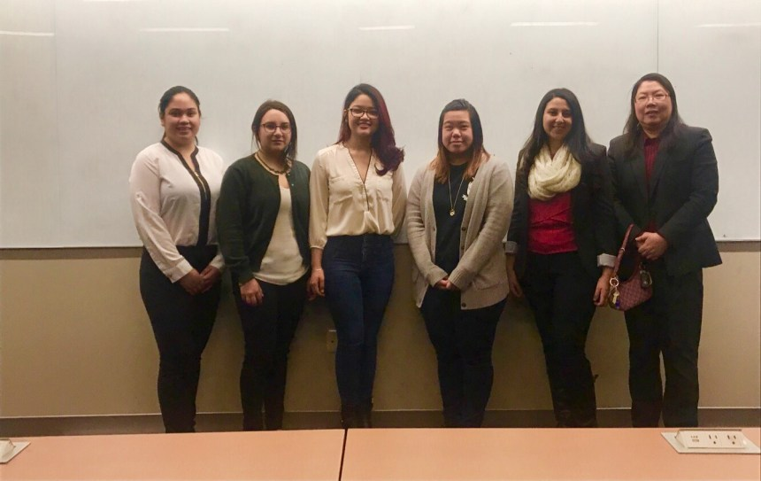 ACM-W Executive Board along with Advisor. (From left to right: Paoline Medina (VP), Katherine Cabrera (President), Luisa Goytia (Guest Speaker from Princeton University), Carina Belino (Treasurer), Marina Nessim  (Secretary), and Dr. Jenny Li (Advisor). Credit: Katherine Cabrera