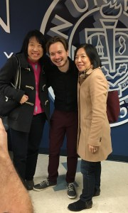 Wink (Center) with two attendees after his comedy show at Kean University. Credit: Kiara Mays