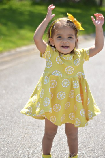 Bitty Bee Lemon Fabric Sapphire Mistletoe Dress 7