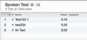 Trackliste mit den Text-to-Speech Aufnahmen