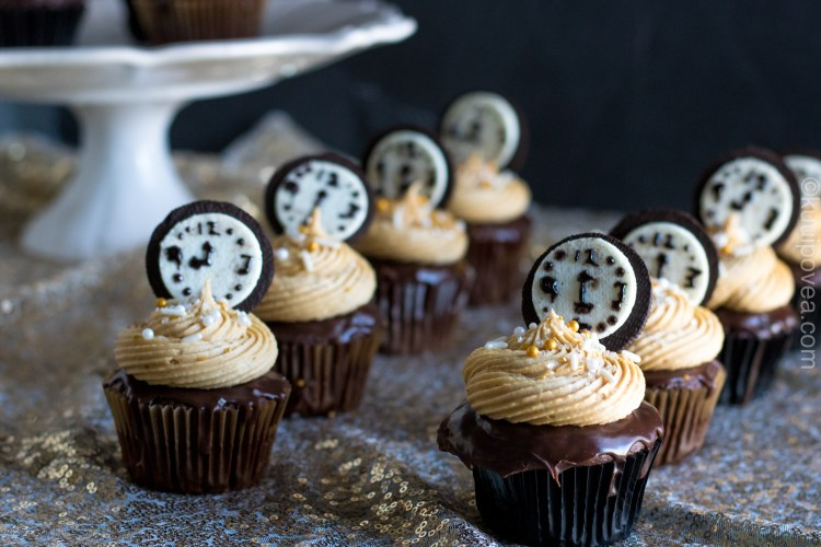 Chocolate Peanut Butter New Year's Eve Cupcakes