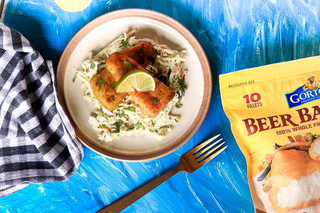 Cilantro Lime Slaw with Beer Battered Fish Filets