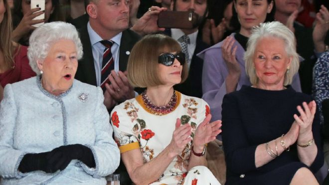 Queen Elizabeth, Anna Wintour and Angela Kelly. Photo: Getty Images