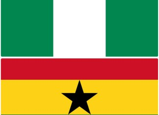 Ghana and Nigeria flags photo via kuulpeeps.com