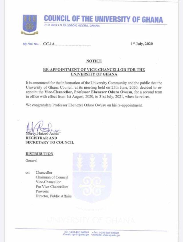 University Of Ghana Re-appoint Vice-Chancellor Pro. Ebenezer Oduro Owusu