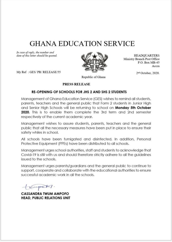Reopening Date For JHS 2 And SHS 2 Students