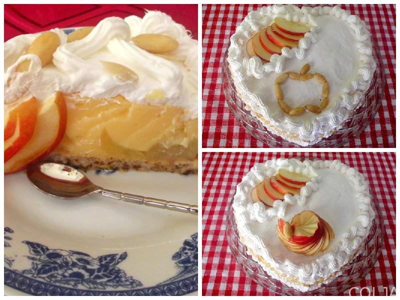 Kolaž gotove torte sa jabukama i vinom