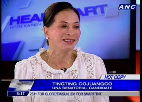 "Margarita ""TingTing"" Cojuangco UNA Senatoriable Candidate"