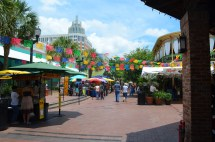 """Colored cut-outs hang on top of the square, making the """"fiesta"""" atmosphere even more vibrant!"""