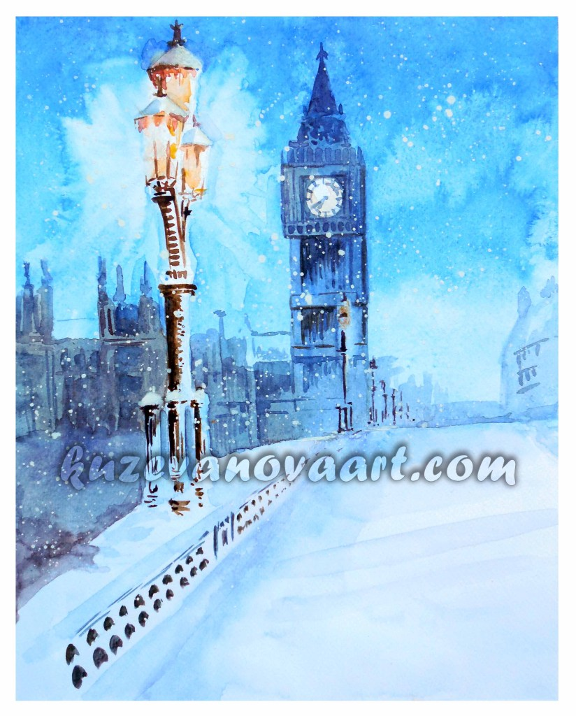 London in blue colors