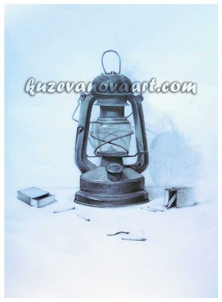 Educational work. Kerosene lamp.